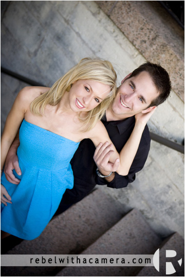 Wes and Kina have their engagement portraits photographed in a stairwell at the Texas Capitol Grounds in Austin, TX