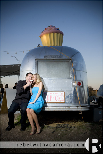 Wes and Kina have their engagement portraits photographed at the Hey Cupcake trailer in South Austin, TX