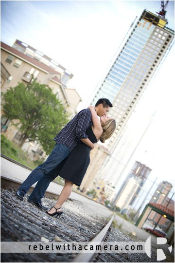 Ann and Nick's engagement photographs on SOCO, the Austin sign and the Amtrak Station in Austin, TX