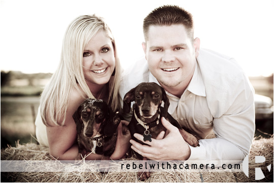 Cyndi and Justin's engagement holding dogs on a big bail of hail in and around Round Rock, TX