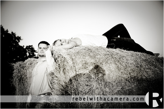 Cyndi and Justin's engagement on a hay bail in Round Rock, TX