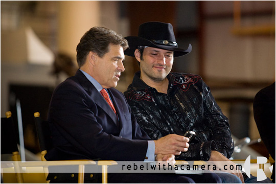 Robert Rodriguez and Texas Governor Rick Perry during a bill signing at Troublemaker Studios in Austin, Texas