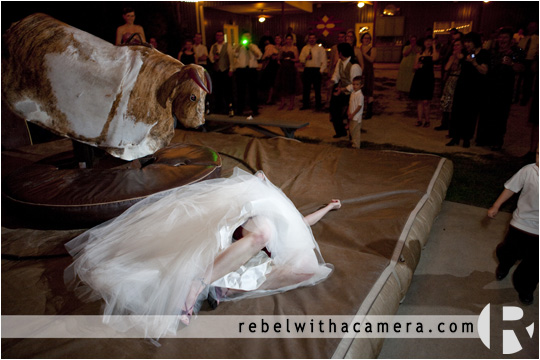 Wild and crazy wedding with a mechanical bull in Columbus Texas for Bret and Estella.