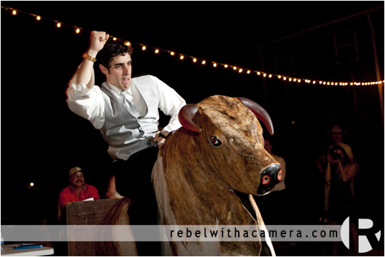 mechanical bull wedding photos in Columbus Texas for Bret and Estella.