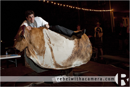 Mechanical bull wedding pictures in Columbus Texas for Bret and Estella.
