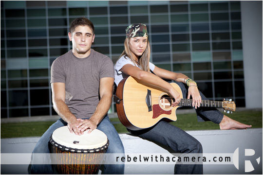 Musician photographs in austin, tx of Gabriella and  Jordan in the rebel with a camera studio and at the  Dell Concert Hall.