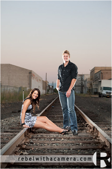 Texas engagement photographs in Killeeen.  Railroad tracks engagement pictures in Killeen, Texas.