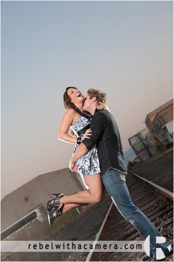 Killeen engagement photographs in Texas.  Railroad tracks engagement pictures.