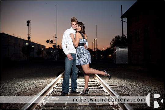 Killeen engagement photographs near Belton Texas.  Railroad tracks engagement pictures.