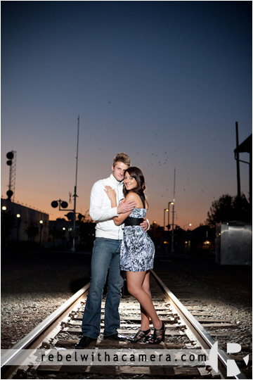 Temple engagement photographs in Killeen, Texas.  Railroad tracks engagement pictures.