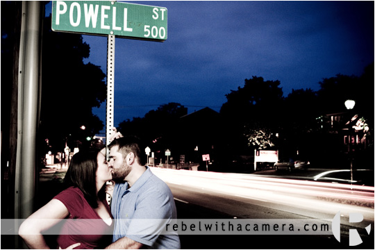 Kara and Ben's engagement photos at the texas capital, greetings from austin sign and Powell Street near 6th street.