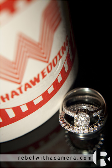 Whataburger coozy for a wedding.  wedding coozy from whataburger.  whatawedding! whataburger ring shot.