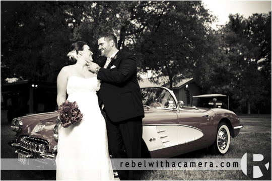 Kara and Ben's wedding wedding at kindred oaks in austin texas,  Cool classic corvette wedding pictures in austin texas