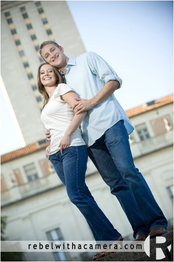 fun engagement photos on the UT campus and downtown Austin.  The University of Texas is a great place to take engagement pictures.