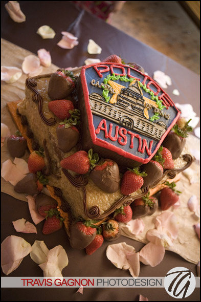 Great wedding cakes made with love in Kyle, TX by The Sweet Stuff.  Austin Police Department Badge Cake.  APD Badge shaped cake.