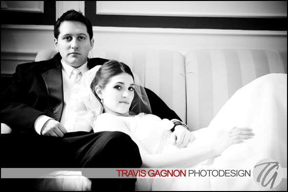 Claire and Jeremy looking sultry during their wedding at the Driskill hotel in Austin, Texas