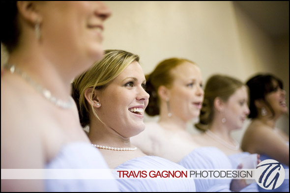 Denise Demel laughs while getting ready at Claire's wedding at the St Austin's Catholic Church in Austin, Texas
