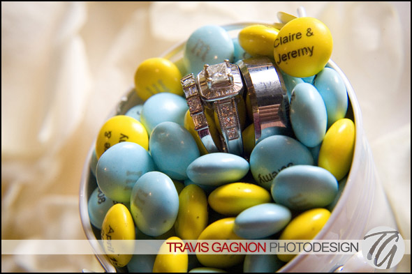 Ring shot with MnMs during Claire and Jeremy's wedding at the Driskill hotel in Austin, Texas