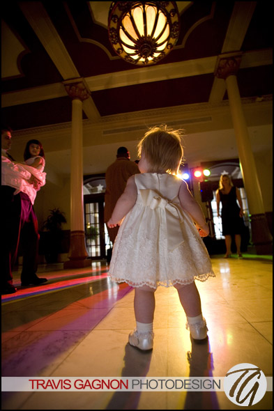 A baby dances the the sounds of the Atlantics during a wedding at the Driskill hotel in Austin, Texas