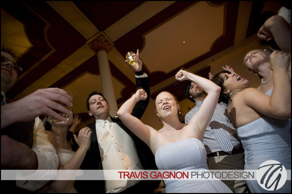 Guests rock out at Jeremy and Claires wedding at the Driskill hotel in Austin, Texas