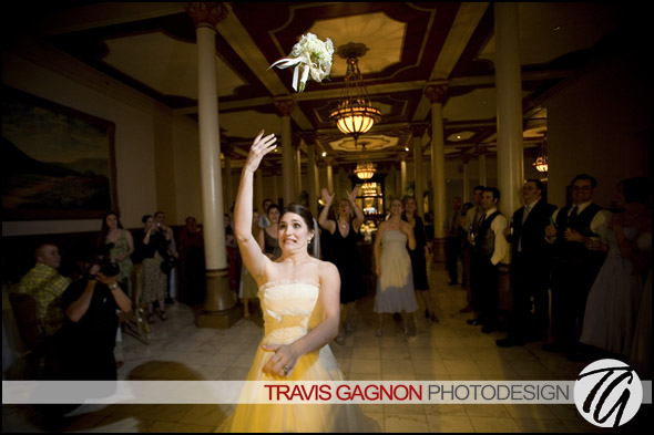 Claire throws the bouquet at hers and Jeremy's wedding at the Driskill hotel in Austin, Texas
