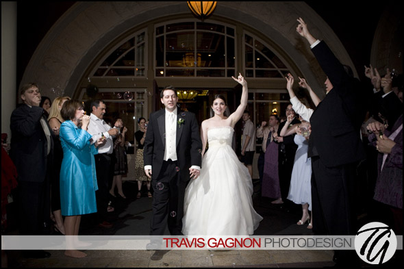 Claire and Jeremy exit their wedding at the Driskill hotel in Austin, Texas