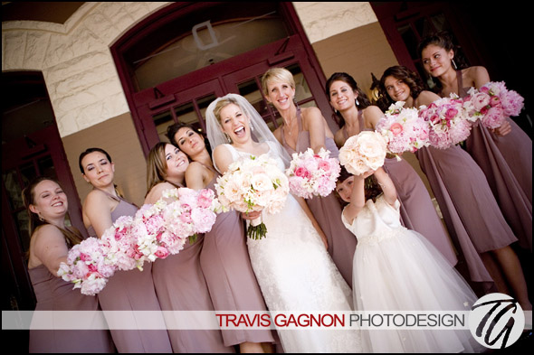 Laura and her bridal party on the deck during Laura and Justin's wedding at the Driskill hotel in Austin, Texas