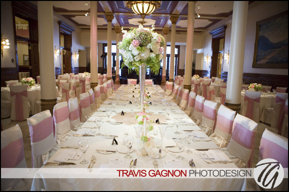 An inside shot of the Driskill's main ballroom at Laura and Justin's wedding at the Driskill hotel in Austin, Texas